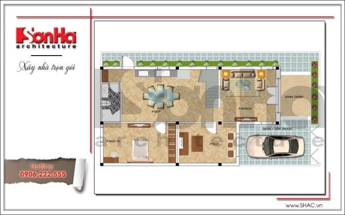 Mặt bằng công năng tầng 1 biệt thự 3 tầng mặt tiền 8m hiện đại sang trọng tại Quảng Ninh
