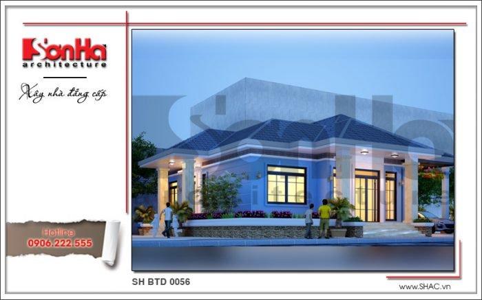 Mẫu thiết kế kiến trúc biệt thự 1 tầng hiện đại tại Bắc Ninh sh btd 0056