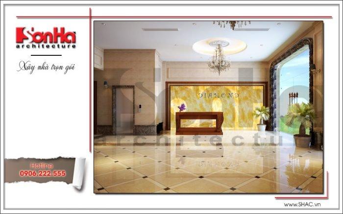 Thiết kế nội thất sảnh lễ tân khách sạn tại Quảng Ninh sh ks 0037