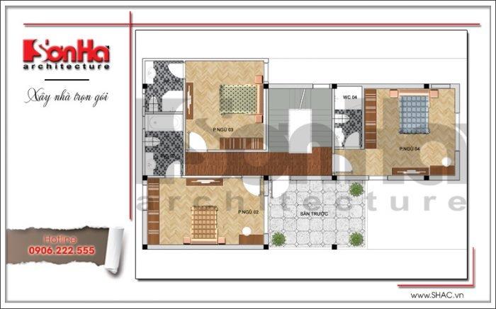Mặt bằng công năng tầng 2 biệt thự 3 tầng mặt tiền 8m hiện đại sang trọng tại Quảng Ninh