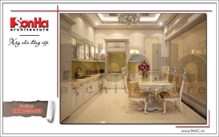 Mẫu thiết kế nội thất phòng bếp nhà ống cổ điển tại Quảng Ninh sh nop 0141