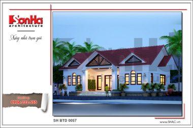 BÌA Thiết kế kiến trúc biệt thự hiện đại 1 tầng mái thái tại Hải Dương sh btd 0057