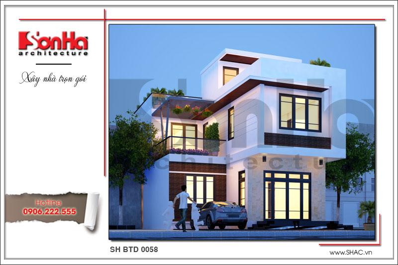 BÌA Mẫu thiết kế kiến trúc mặt tiền biệt thự hiện đại tại Quảng Ninh sh btd 0058