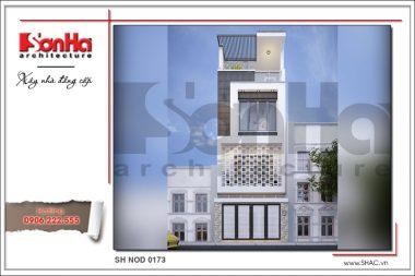 BÌA Thiết kế kiến trúc mặt tiền nhà ống hiện đại tại Hải Phòng sh nod 0173