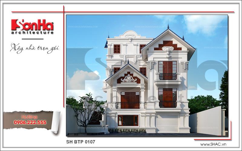 thiết kế biệt thự tân cổ điển 4 tầng mái ngói sang trọng