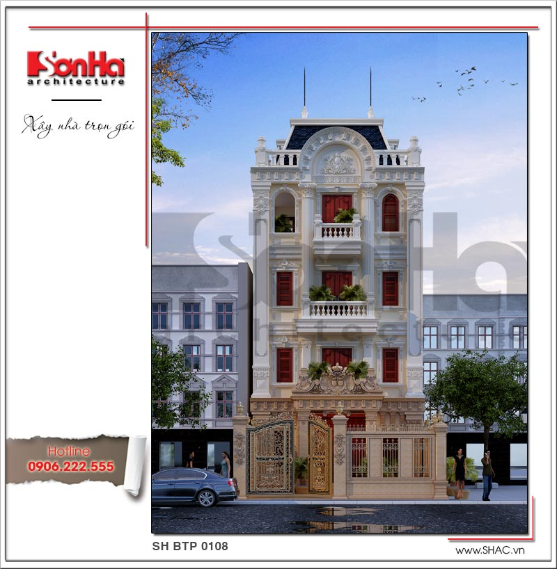 Còn đây là mẫu mặt tiền đẹp của ngôi biệt thự kiểu Pháp cổ đẳng cấp sang trọng