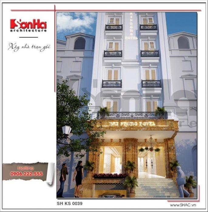 Thiết kế mặt tiền khách sạn mini kiến trúc Pháp tại Hải Phòng sh ks 0039