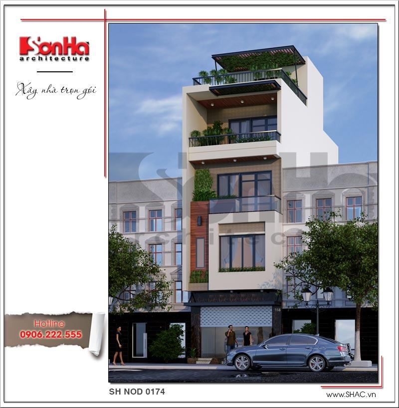 Trình làng mẫu thiết kế nhà phố hiện đại 5 tầng mặt tiền 5m độc đáo tại Hà Nội – SH NOD 0174 2