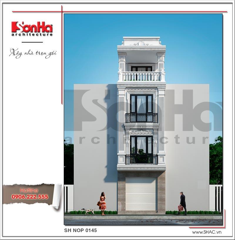 Mẫu thiết kế nhà ống kiến trúc Pháp 4 tầng mặt tiền hẹp tại Hải Phòng – SH NOP 0145 1