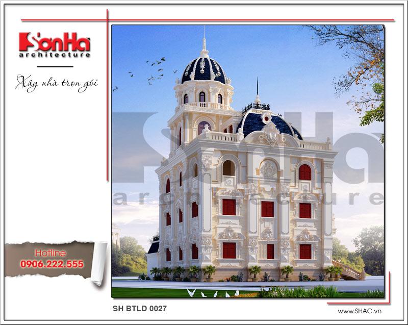 Thiết kế mặt tiền biệt thự lâu đài 3 tầng mặt tiền rộng tại Quảng Ninh sh btld 0027