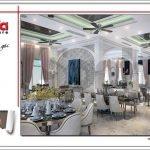 Mẫu Thiết kế phòng ăn nhà hàng 2 tầng kiến trúc Pháp sang trọng tại Phú Quốc sh bck 0045
