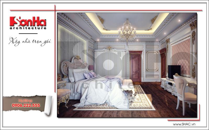 Thiết kế nội thất phòng ngủ VIP 2 biệt thự lâu đài 3 tầng mặt tiền rộng tại Quảng Ninh sh btld 0027