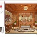 Mẫu thiết kế nội thất phòng thờ biệt thự lâu đài 3 tầng mặt tiền rộng tại Quảng Ninh sh btld 0027