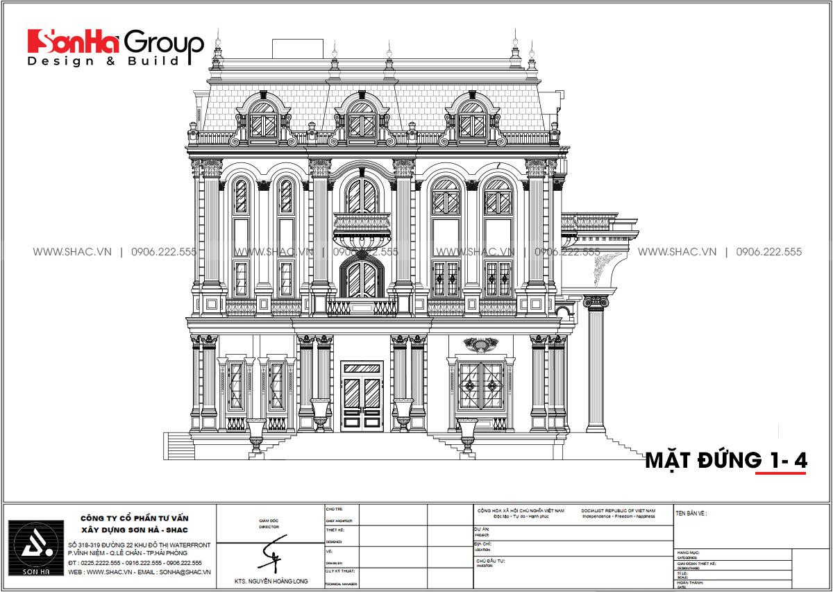 Mặt đứng A-D trong thiết kế biệt thự 4 tầng tại Đà Nẵng