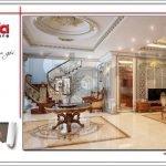 Thiết kế nội thất sảnh tầng 1 biệt thự lâu đài 3 tầng mặt tiền rộng tại Quảng Ninh sh btld 0027