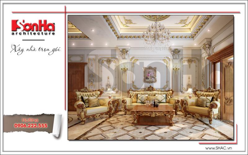 Mẫu thiết kế sảnh tầng 2 biệt thự lâu đài 3 tầng mặt tiền rộng tại Quảng Ninh sh btld 0027