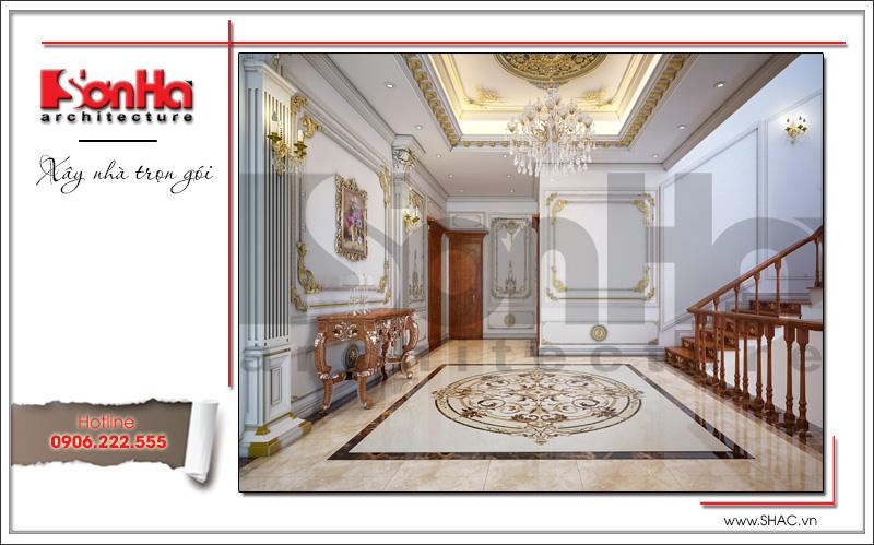 Thiết kế nội thất sảnh tầng 3 biệt thự lâu đài 3 tầng mặt tiền rộng tại Quảng Ninh sh btld 0027