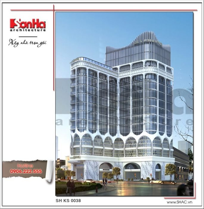Mẫu thiết kế kiến trúc khách sạn hiện đại tại Đà Nẵng SH KS 0038