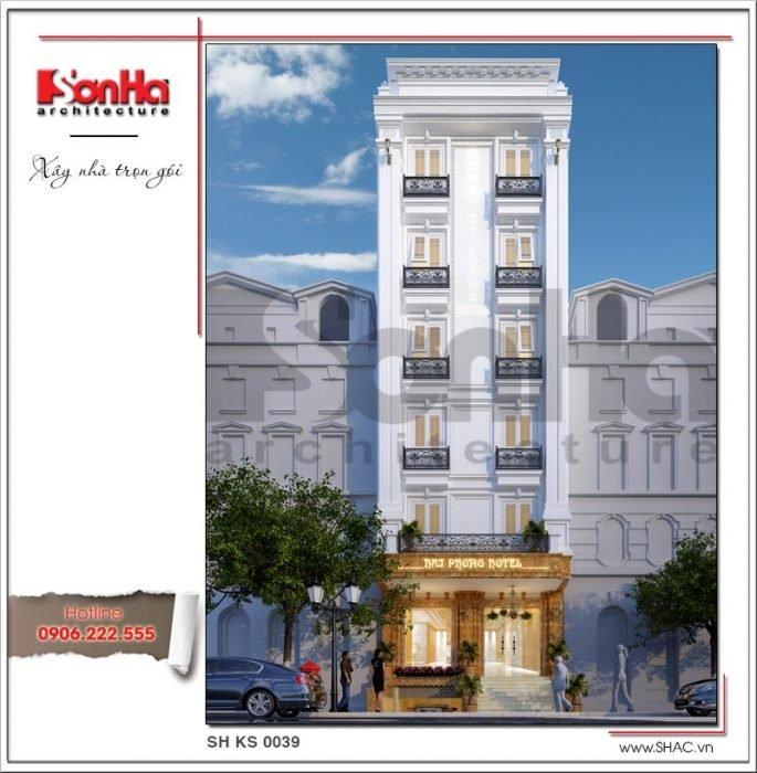 Mẫu thiết kế kiến trúc khách sạn mini kiến trúc Pháp tại Hải Phòng sh ks 0039