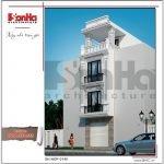 Mẫu kiến trúc nhà ống kiến trúc Pháp 4 tầng mặt tiền hẹp tại Hải Phòng sh nop 0145