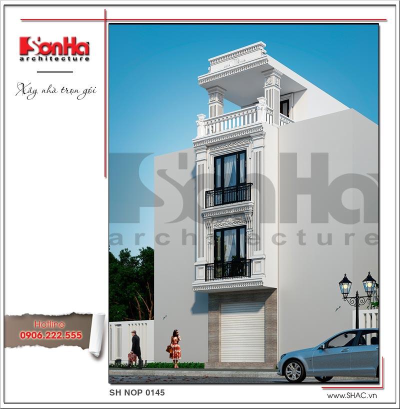 Mẫu thiết kế nhà ống kiến trúc Pháp 4 tầng mặt tiền hẹp tại Hải Phòng – SH NOP 0145 2