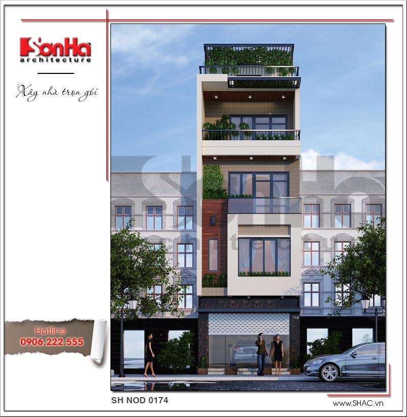 Trình làng mẫu thiết kế nhà phố hiện đại 5 tầng mặt tiền 5m độc đáo tại Hà Nội – SH NOD 0174 1