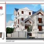 Thiết kế kiến trúc biệt thự Pháp mái ngói xanh tại Quảng Ninh sh btp 0107