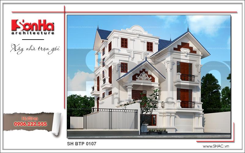 Mẫu thiết kế biệt thự kiến trúc Pháp 3 tầng mái ngói khang trang tại Quảng Ninh – SH BTP 0107 2