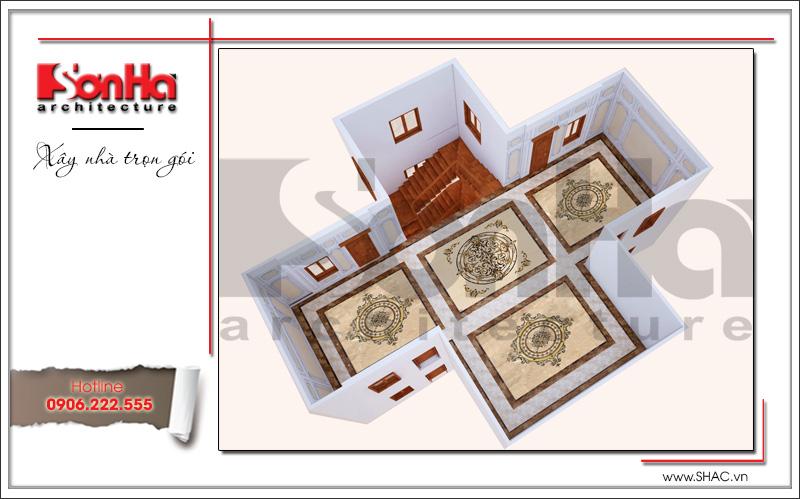 Nội thất sảnh tầng 4 biệt thự lâu đài 3 tầng mặt tiền rộng tại Quảng Ninh sh btld 0027
