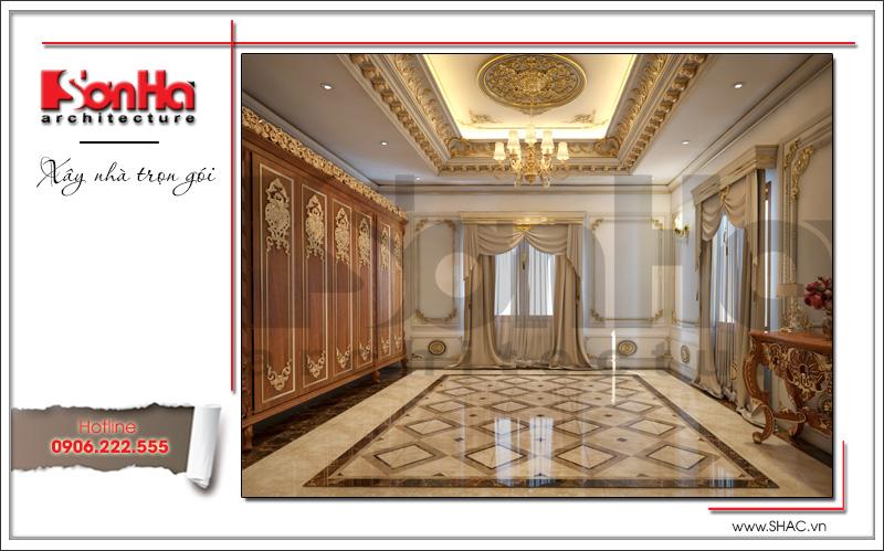 Mẫu thiết kế phòng thay đồ biệt thự lâu đài 3 tầng mặt tiền rộng tại Quảng Ninh sh btld 0027