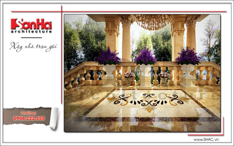 Thiết kế sảnh sau biệt thự lâu đài 3 tầng mặt tiền rộng tại Quảng Ninh sh btld 0027