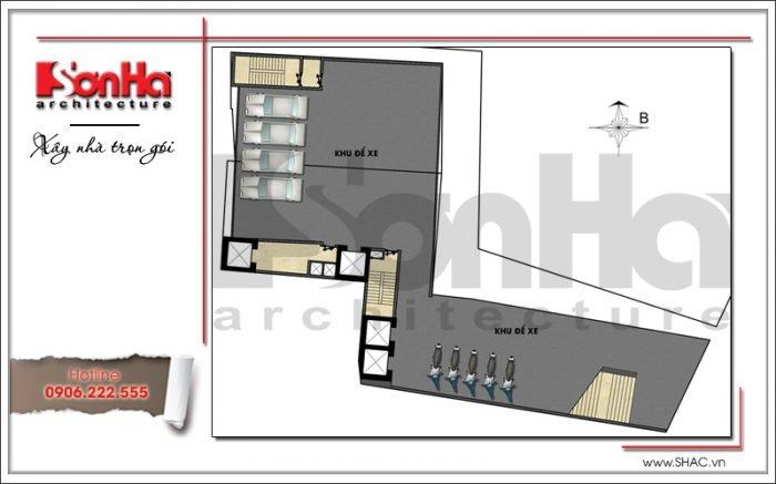 Mặt bằng công năng tầng 1 khách sạn hiện đại tại Đà Nẵng SH KS 0038