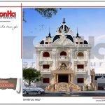 Mẫu thiết kê mặt tiền biệt thự lâu đài 3 tầng mặt tiền rộng tại Quảng Ninh sh btld 0027
