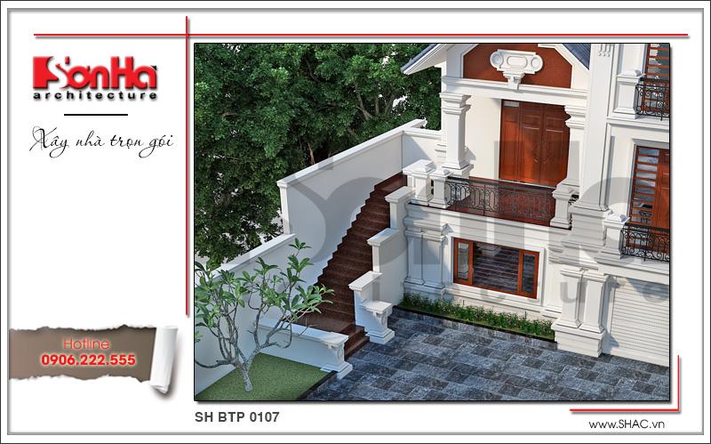 Mẫu thiết kế biệt thự kiến trúc Pháp 3 tầng mái ngói khang trang tại Quảng Ninh – SH BTP 0107 3
