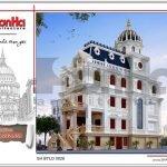 Thiết kế kiến trúc biệt thự lâu đài 2 tầng đẹp tại Lạng Sơn sh btld 0028