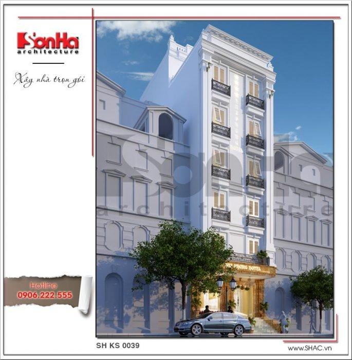Thiết kế kiến trúc khách sạn mini kiến trúc Pháp tại Hải Phòng sh ks 0039