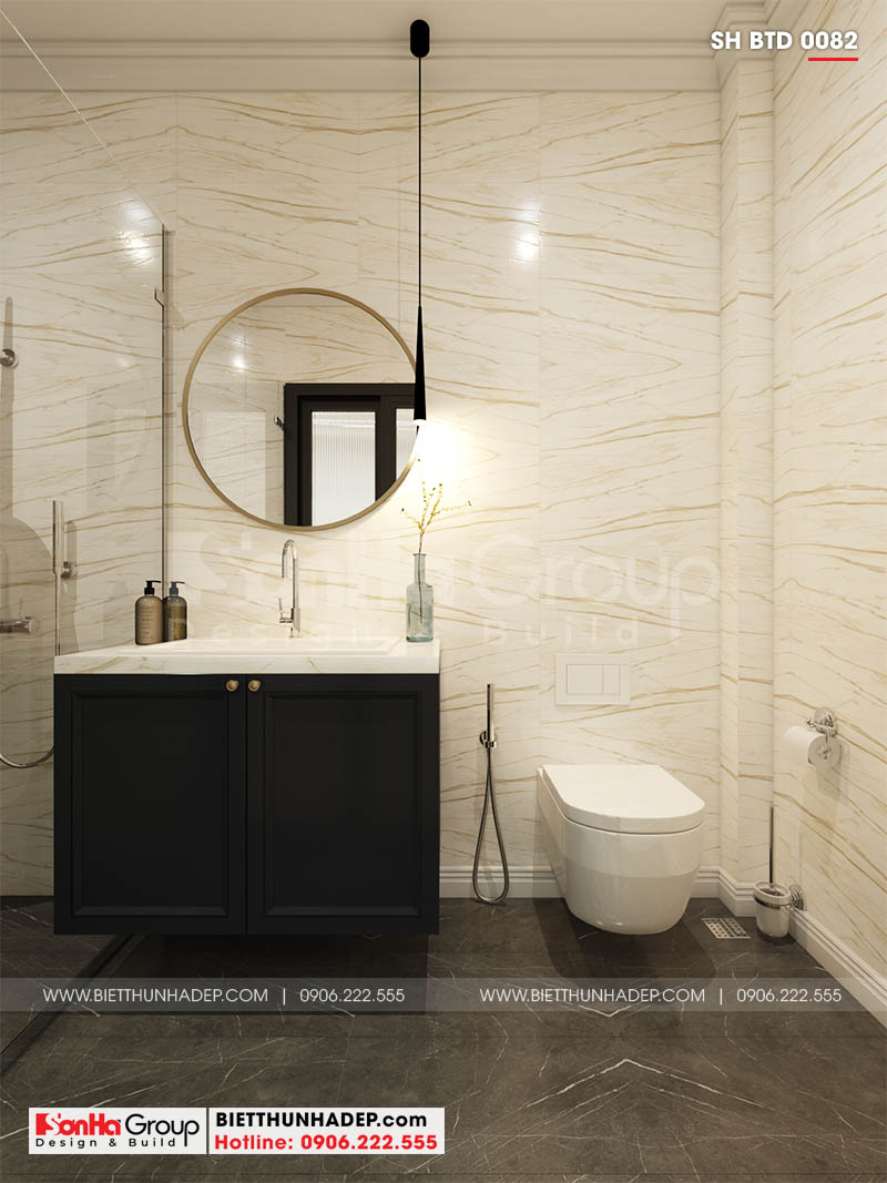 Phòng tắm trong không gian biệt thự đẹp 2 tầng tại Hải Phòng