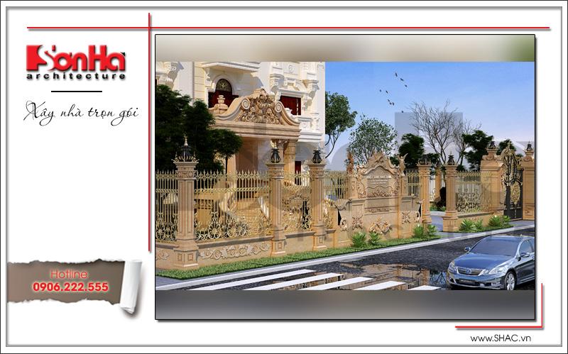 Mẫu kiến trúc sân cổng tường rào biệt thự lâu đài 3 tầng mặt tiền rộng tại Quảng Ninh sh btld 0027
