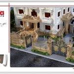 Thiết kế kiến trúc sân cổng tường rào biệt thự lâu đài 3 tầng mặt tiền rộng tại Quảng Ninh sh btld 0027