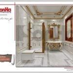 Mẫu nội thất vệ sinh tầng 2 biệt thự lâu đài 3 tầng mặt tiền rộng tại Quảng Ninh sh btld 0027