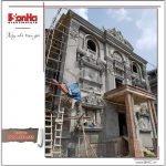 Ảnh thực tế thi công 1 biệt thự lâu đài 3 tầng mặt tiền rộng tại Quảng Ninh sh btld 0027