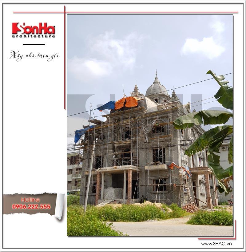 Ảnh thực tế thi công 2 biệt thự lâu đài 3 tầng mặt tiền rộng tại Quảng Ninh sh btld 0027