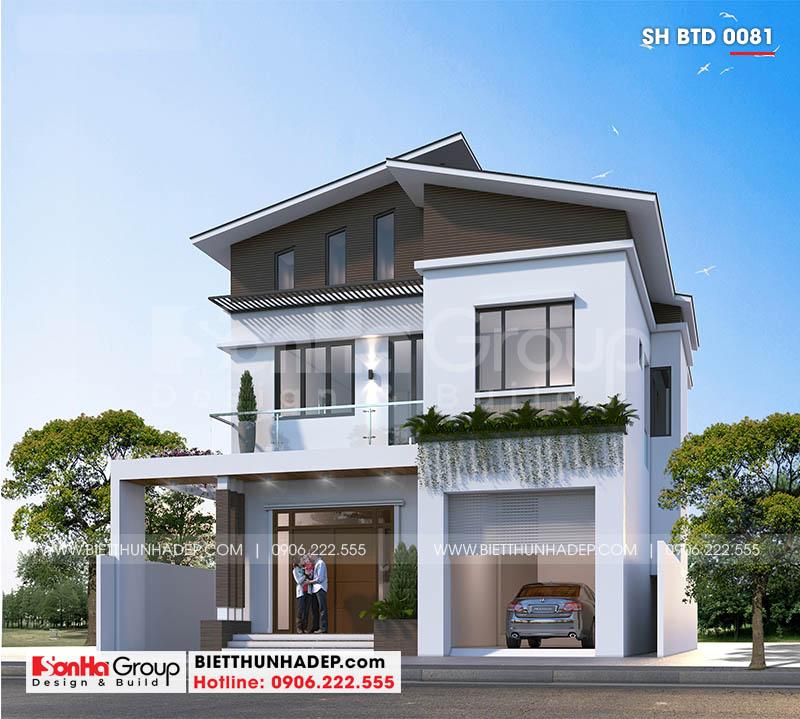 Mẫu biệt thự hiện đại có gara Ninh Bình