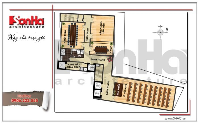 Mặt bằng công năng tầng 3 khách sạn hiện đại tại Đà Nẵng SH KS 0038