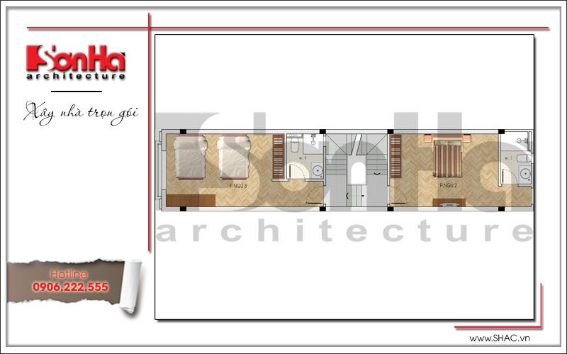Mẫu thiết kế nhà ống kiến trúc Pháp 4 tầng mặt tiền hẹp tại Hải Phòng – SH NOP 0145 5
