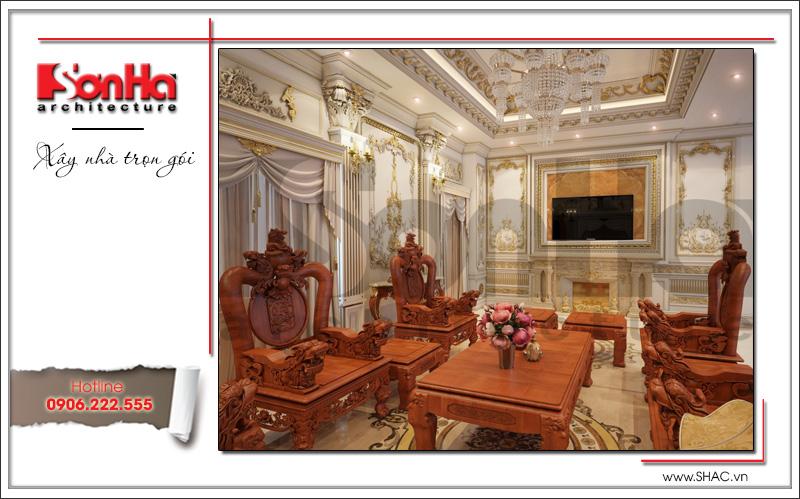 Mẫu nội thất phòng khách biệt thự lâu đài 3 tầng mặt tiền rộng tại Quảng Ninh sh btld 0027