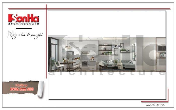 quy hoạch phòng ăn và phòng khách chung cư hiện đại