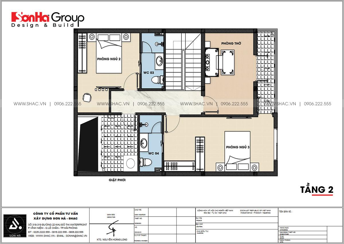 Công năng sử dụng tầng 2 biệt thự hiện đại diện tích 92m2 tại Hải Phòng