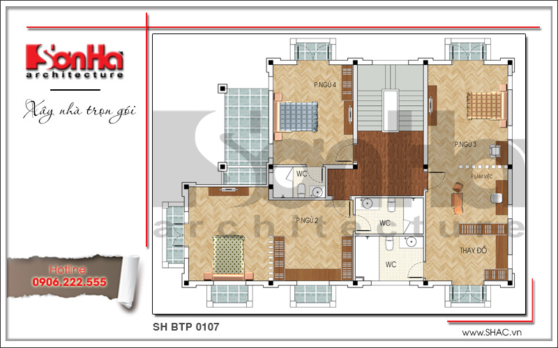 Mẫu thiết kế biệt thự kiến trúc Pháp 3 tầng mái ngói khang trang tại Quảng Ninh – SH BTP 0107 6
