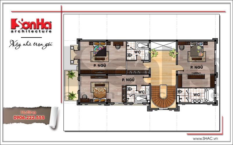 Mặt bằng công năng tầng 3 biệt thự lâu đài 2 tầng đẹp tại Lạng Sơn sh btld 0028